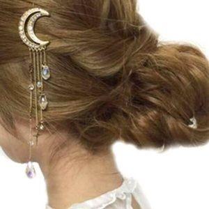 NEW Moon Crystal Hair Clip Pin Accessory Rosegold
